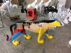 彩绘豹玻璃钢动物雕塑