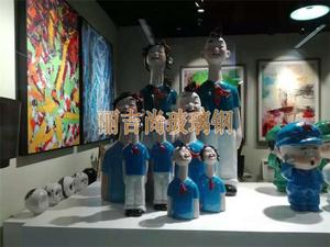 大头共产党人物玻璃钢卡通雕塑