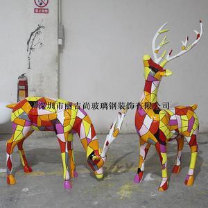 玻璃钢彩绘鹿